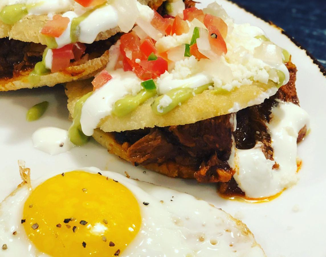 New Mexican red chile pork arepas