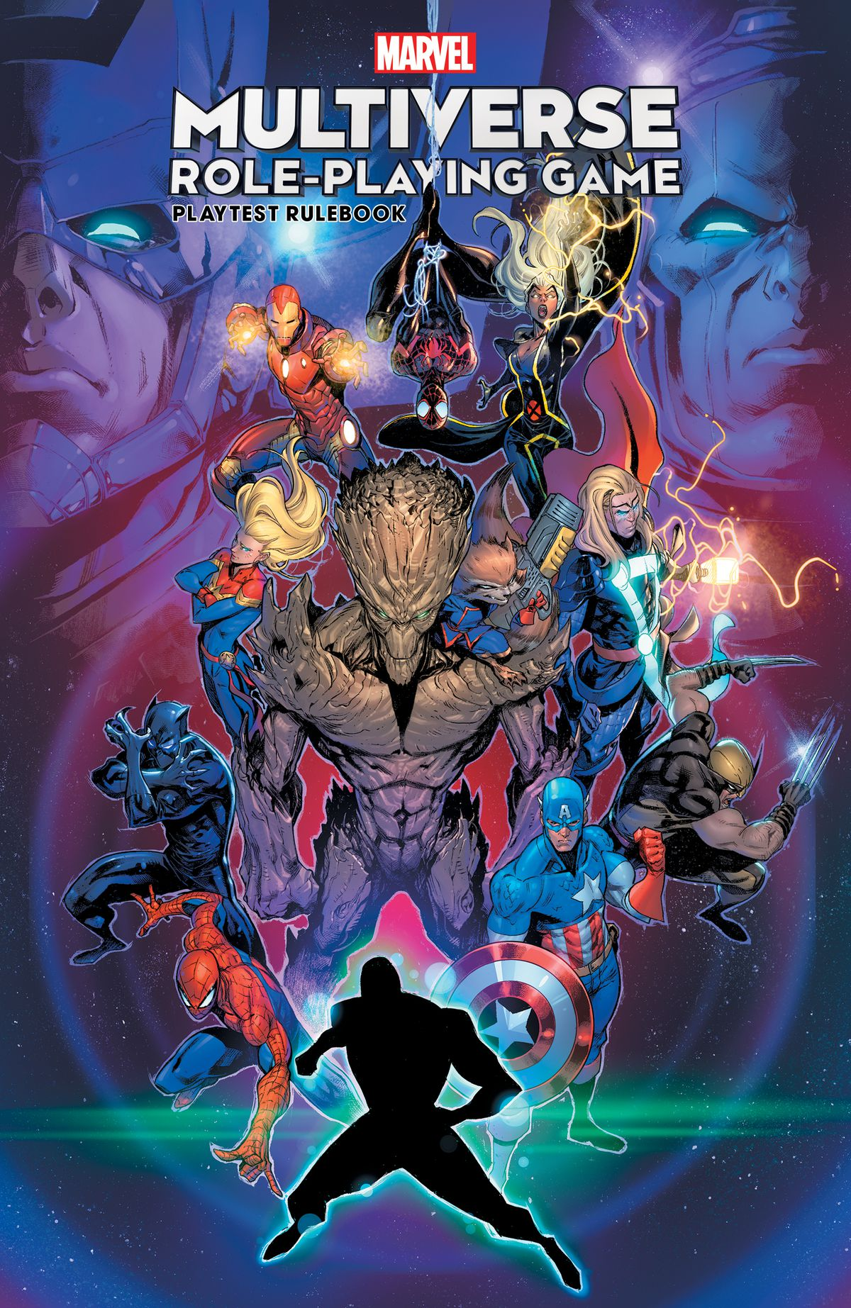 Cover art of the Marvel Multiverse Playtest Rulebook, featuring heroes Spider-Man, Captain America, Black Panther, Captain Marvel, and others.