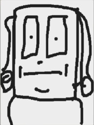 A square head with a constipated look, with what are either noodly arms or curly hair locks on either side