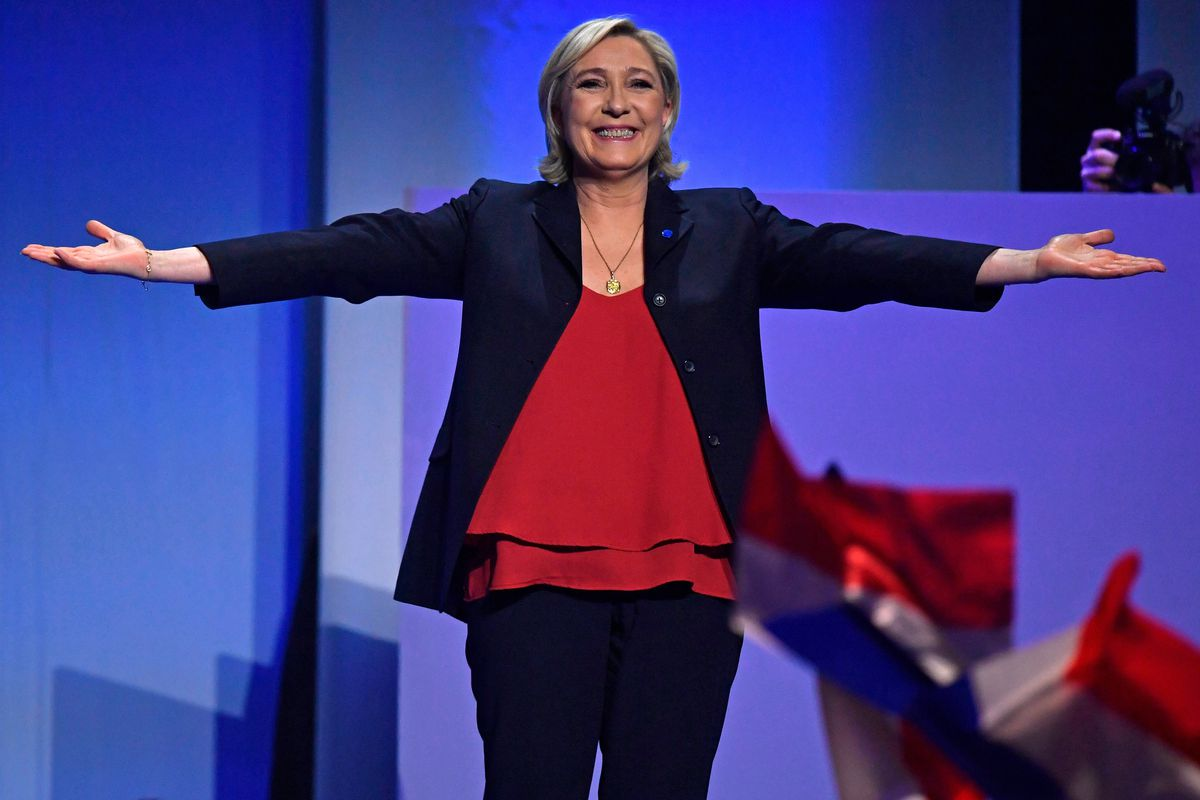 French Presidential Candidate Marine Le Pen Holds A Rally Meeting In Marseille