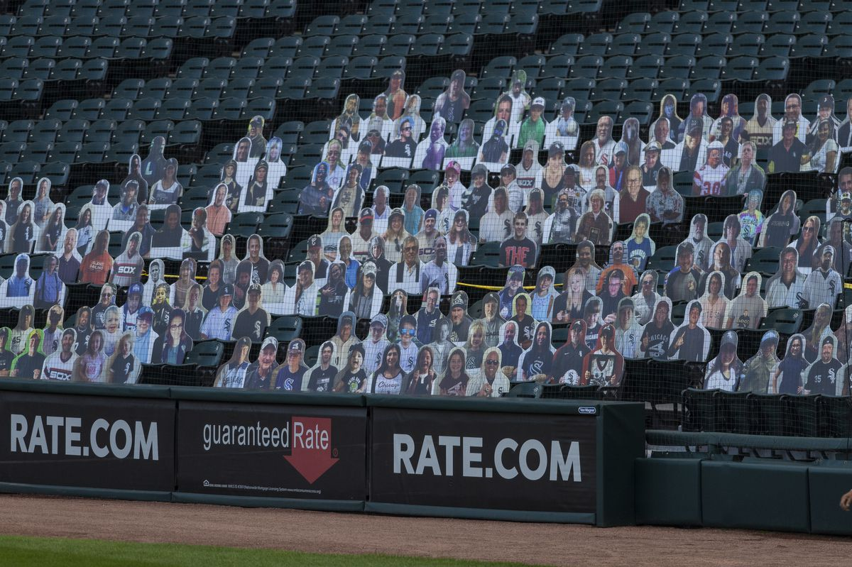 Cut outs of fans who donated to Chicago White Sox charities are put in seats at Guaranteed Rate Field during the opening day game against the Minnesota Twins, Friday evening, July 24, 2020.