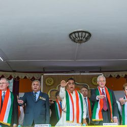 Elder D. Todd Christofferson, a member of the Quorum of Twelve Apostles for The Church of Jesus Christ of Latter-day Saints, third from right, and his wife, Sister Kathy Christofferson, join other dignitaries in taking a pledge during the 71st Independence Day celebrations at the MIT World Peace university in Pune, Maharashtra, India on August 15, 2017.