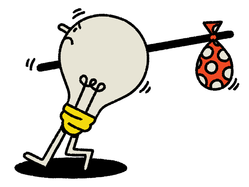 A lightbulb with a concerned look on its face holds a stick with a red and white patterned bag attached to it. This is an illustration.
