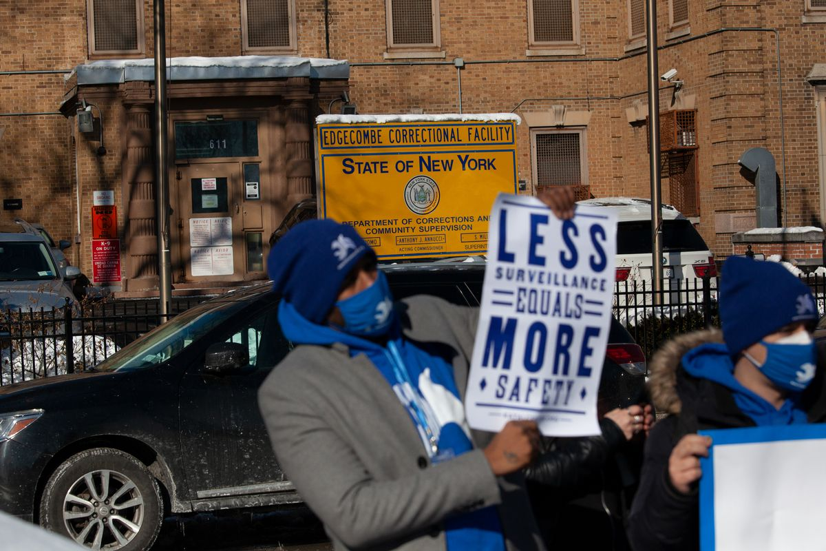 Criminal justice reform advocates protested outside Washington Height's Edgecombe Correctional Facility against unsafe conditions in jails and prisons during the coronavirus outbreak, Feb. 8, 2021.