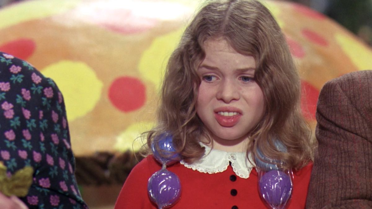 """Veruca Salt makes an """"ewww"""" face in Willy Wonka and the Chocolate Factory"""