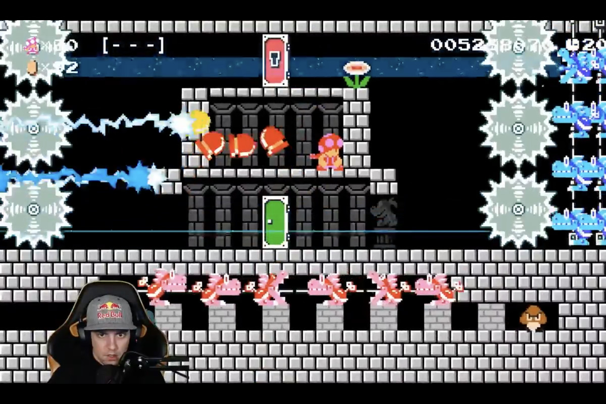 A screenshot of the streamer, GrandPOOBear beating a level filled with enemies.