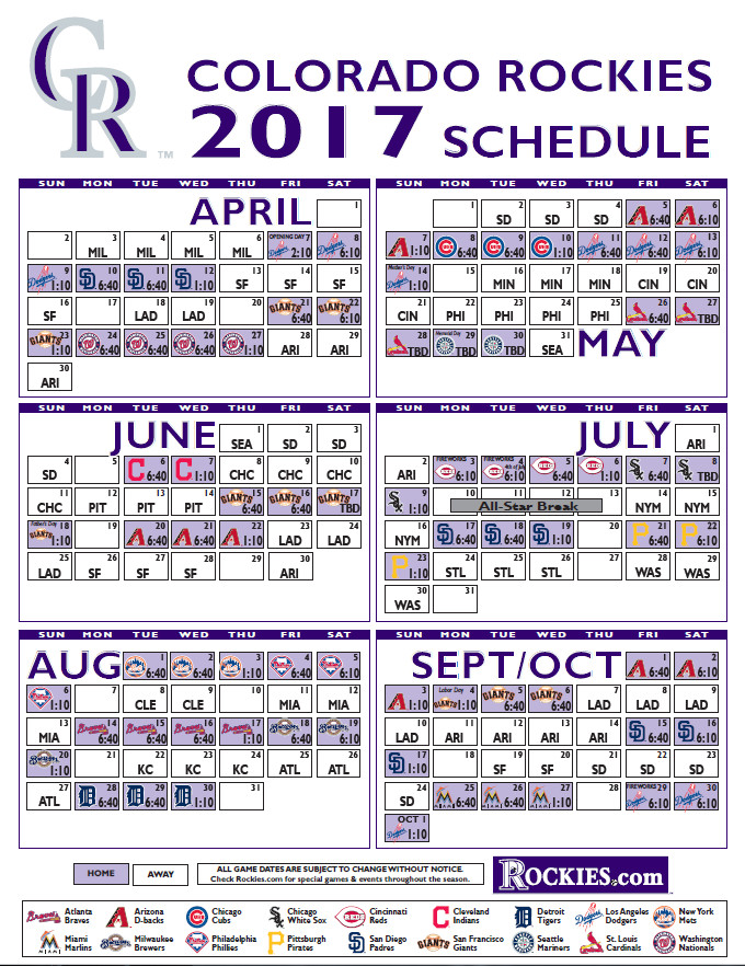 Rockies' 2017 regular season schedule announced - Purple Row