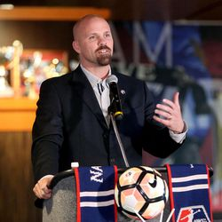 Craig Waibel, Real Salt Lake general manager, talks about a new National Women's Soccer League team in Utah during a press conference at Rio Tinto Stadium in Sandy on Thursday, Nov. 16, 2017.
