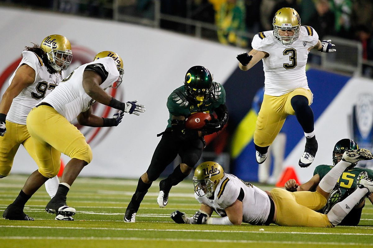 EUGENE, OR - DECEMBER 02: Oregon thumped UCLA in the inaugural Pac 12 Championship Game in 2011 at the Autzen Stadium in Eugene, Oregon.  Will there be a rematch in 2012?  (Photo by Jonathan Ferrey/Getty Images)
