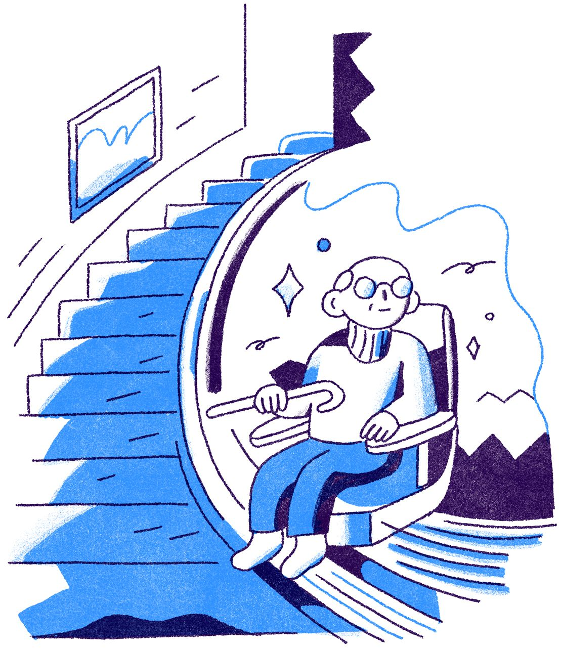 An old man in a turtleneck holding a cane serenely riding a stair assist machine up a floor. Illustration.