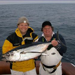 """Who wouldn't want to go fishing with chef David Burke (right) and his happy friend?  These guy on a boat is too much fun. (<a href=""""http://blogs.app.com/inthemoney/2008/12/23/jeff-citron-catches-a-big-one/"""" rel=""""nofollow"""">photo</a>)"""