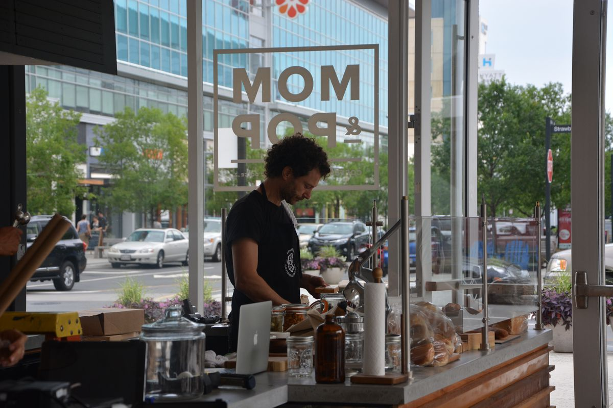Mom and Pop's, still under construction at Mosaic District