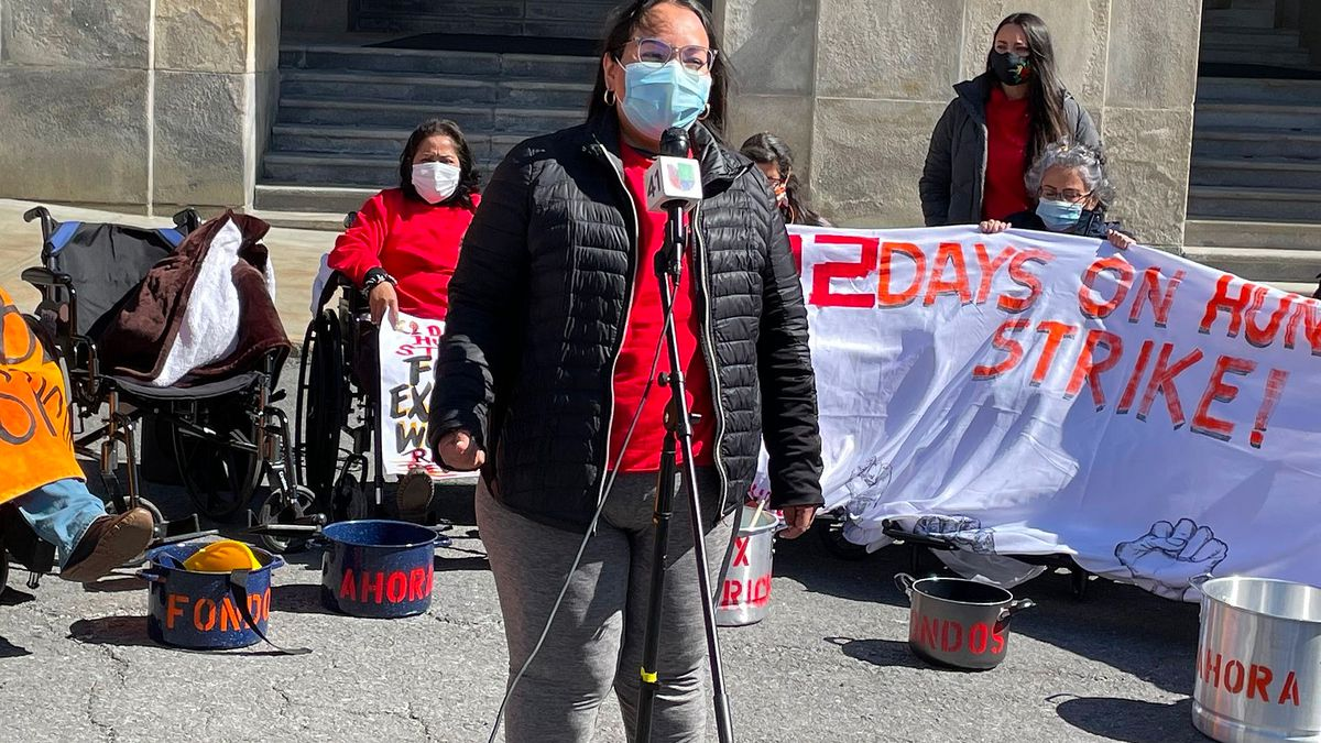 Veronica Leal speaks at the state Capitol during Day 22 of a hunger strike aimed at getting financial help for excluded workers, April 6, 2021.
