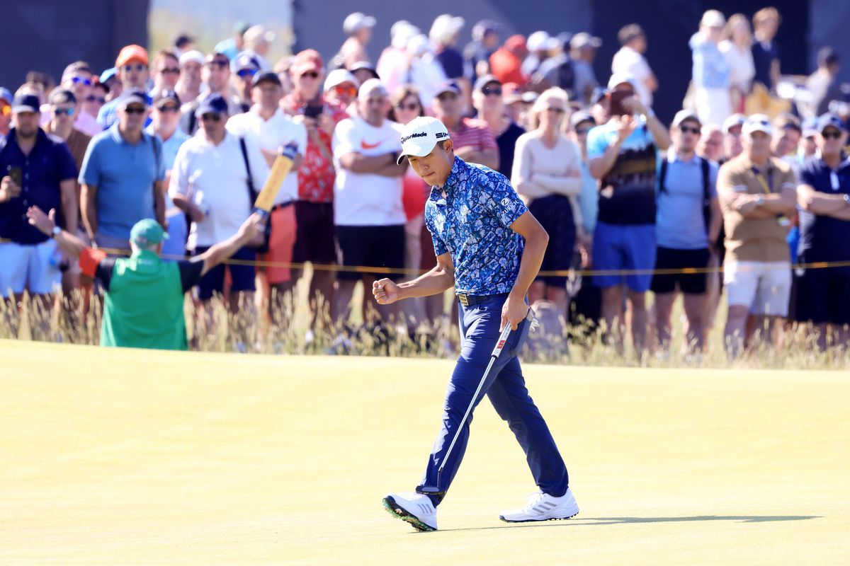 Collin Morikawa of the United States reacts after his putt on the ninth hole during Day Four of The 149th Open at Royal St George's Golf Club on July 18, 2021 in Sandwich, England.