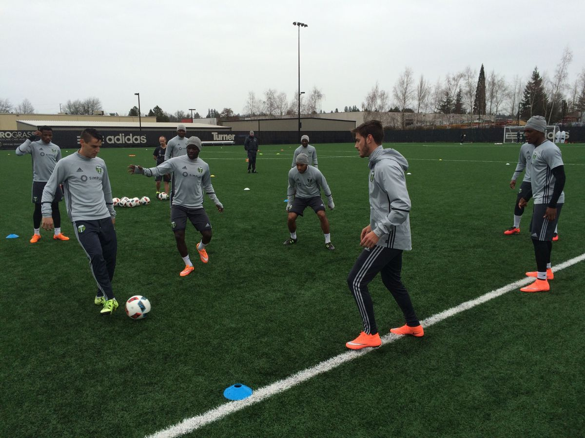 Portland Timbers rondo in training. William Conwell. 3/1/16
