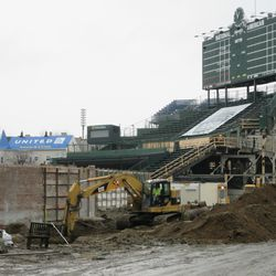 View of digging in right-field bleachers on Sheffield