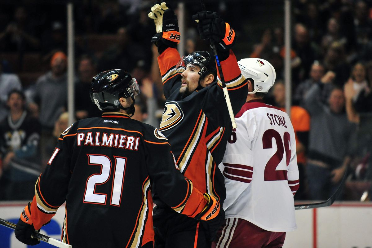 Patrick Maroon celebrates his goal. Somewhere Bugs Bunny nibbles a carrot.