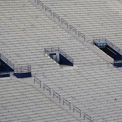 LaVell Edwards Stadium has no fans, because of COVID-19 restrictions, before an NCAA college football game between BYU and Troy on Saturday, Sept. 26, 2020, in Provo.