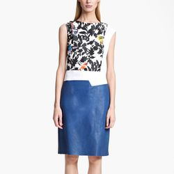"""<b>Thakoon</b> Bird Print Cotton & Leather Dress, <a href=""""http://shop.nordstrom.com/S/thakoon-bird-print-cotton-leather-dress/3443321?origin=keywordsearch&contextualcategoryid=60135750&fashionColor=&resultback=0&pprd=0"""">$1,590</a> at Nordstrom"""