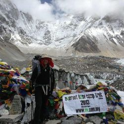 At base camp before pushing upward for the summit of Mount Everest.