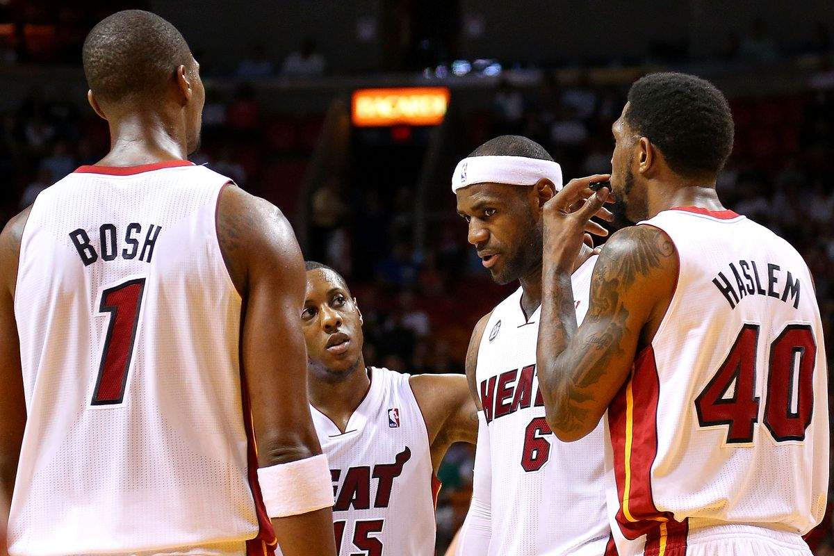 Chris Bosh, Mario Chalmers, LeBron James and Udonis Haslem.