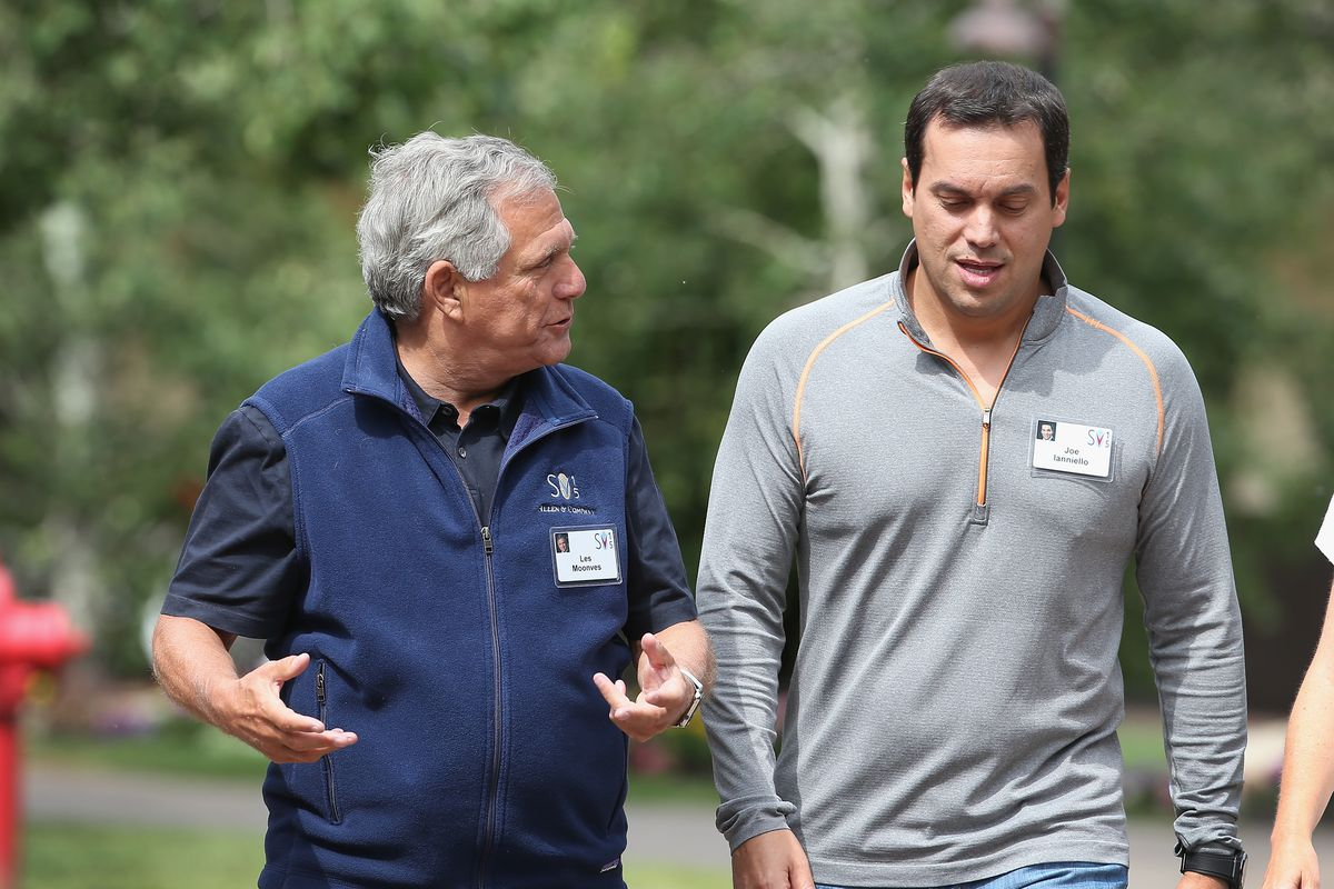 Leslie Moonves, president and chief executive officer of CBS Corp. walks with Joseph Ianniello, chief operating officer for CBS Corporation.