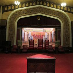 The Gothic lodge room with its old English decor is one of four lodge rooms used by Masons at their Salt Lake temple.