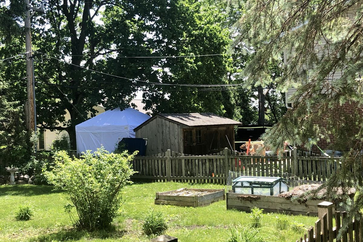 A tent was erected in the yard of a Northbrook home where authorities are searching for remains of Linda Seymour.