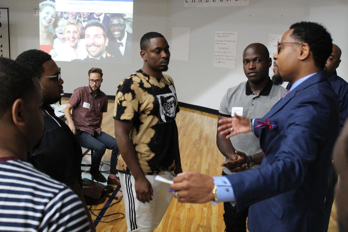 Founder Patrick Washington discusses his program Man Up with current Relay Graduate School of Education participants. The program aims to partner with Relay to train more male teachers of color.