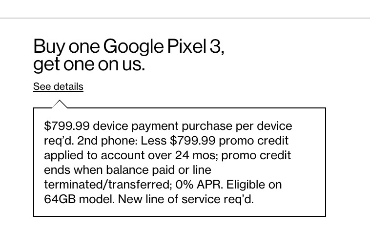Verizon suggests Pixel 3 pricing will start at $799.99