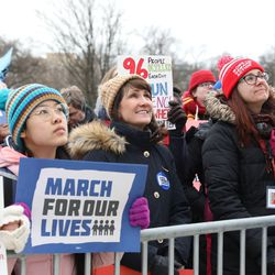 Former 3rd Congressional District candidate Marie Newman joins the crowd at the March for Our Lives rally on Saturday in Union Park. | Ashlee Rezin/Sun-Times