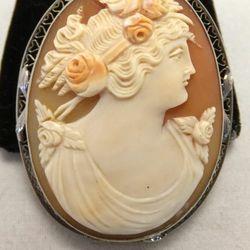 14K white gold cameo pin/pendant, $225