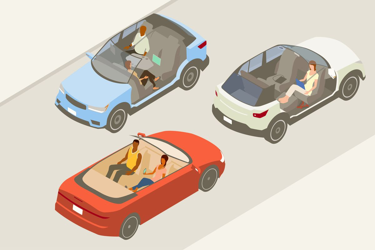 Three cutaway illustrations of autonomous cars, including two SUVs and one convertible.