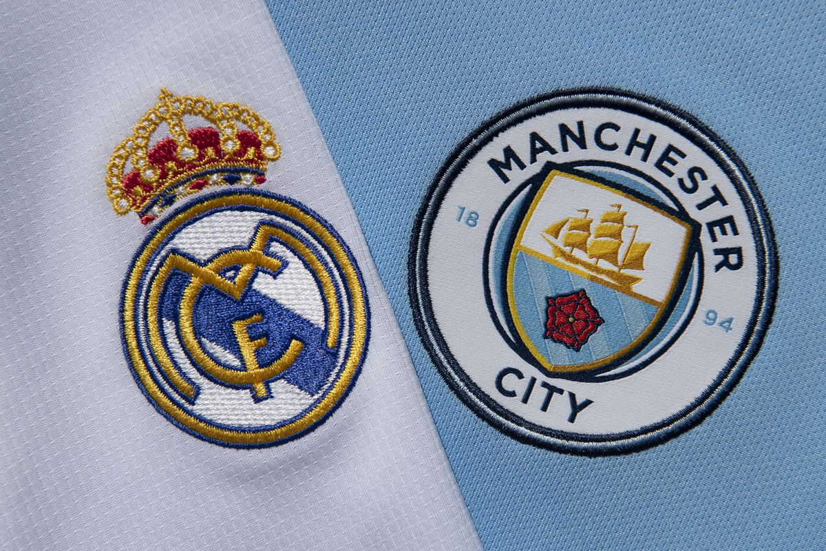 The Real Madrid and Manchester City Club Badges