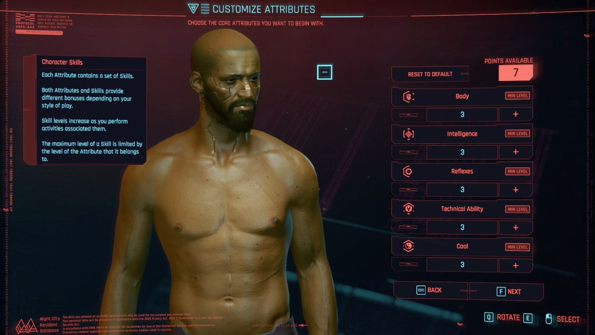 Cyberpunk 2077 character creation builds attributes