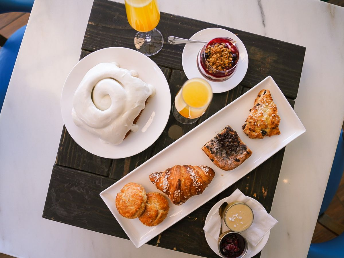 An overhead view of brunch dishes