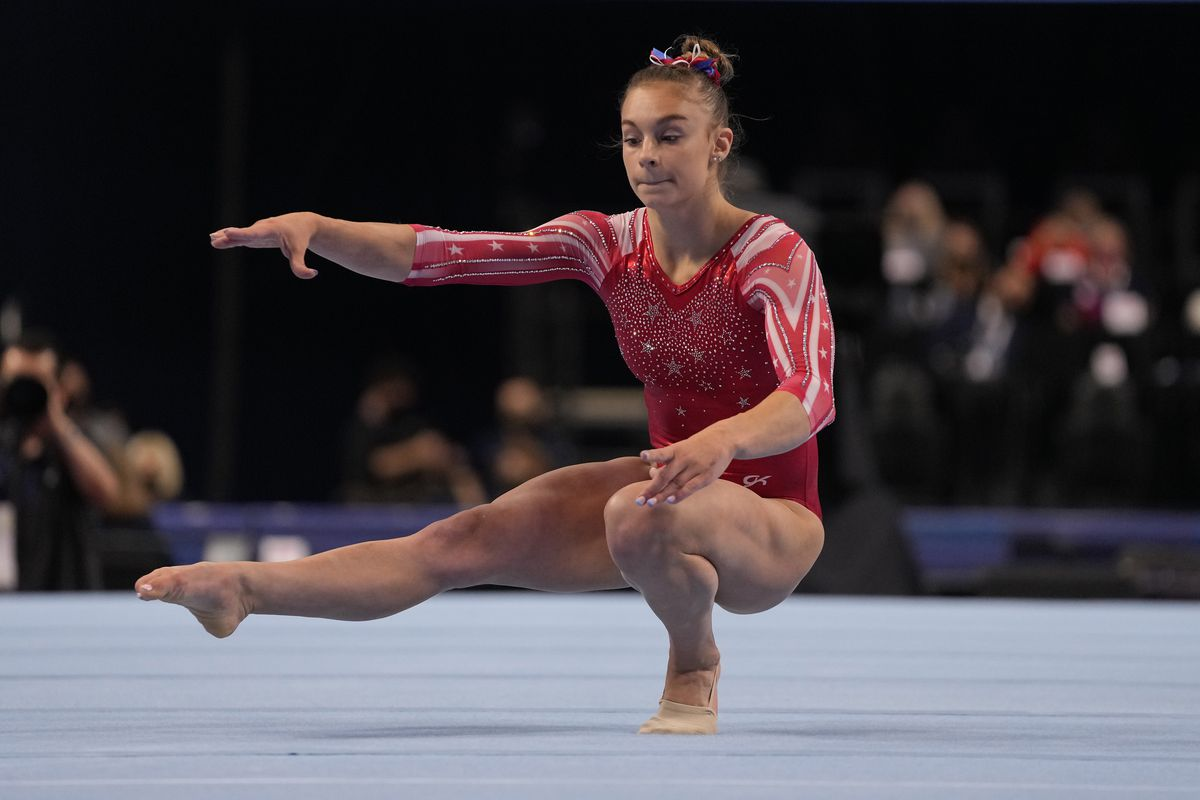 Grace McCallum competes on the floor at the U.S. Olympic Trials.