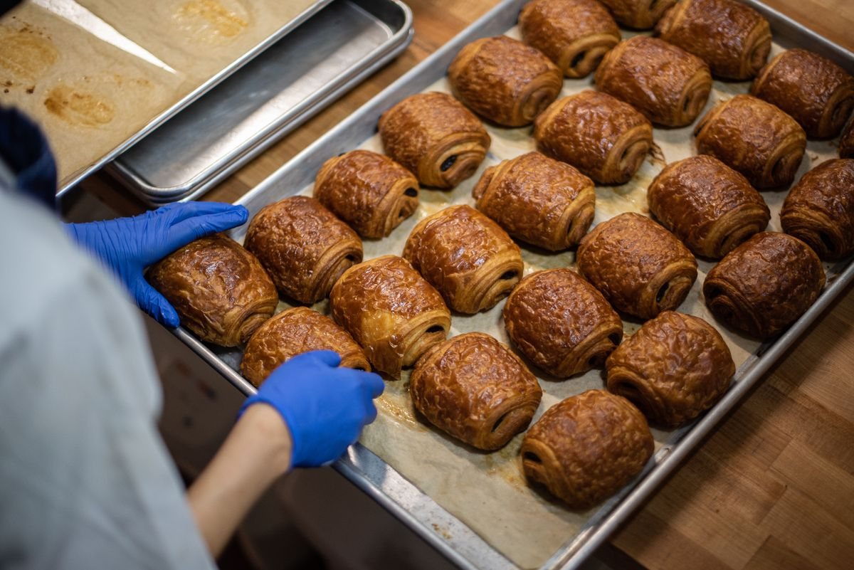 A tray of chocolate croissants made by Bakers Bench chef Jennifer Yee.