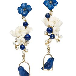 Mother-daughter duo Leslie and Octavia Giovannini-Torelli hand craft these lapis, pearl, tagua, and horn aviary earrings in Tribeca. The inspiration? Leslie's mother, and her pet birds.