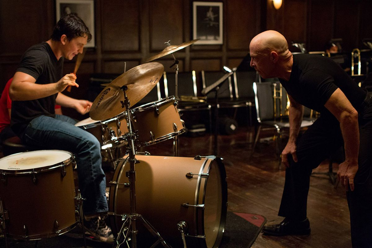Miles Teller (at drums) and J.K. Simmons star in the mesmerizing Whiplash.