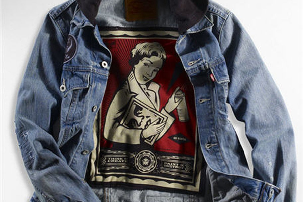 """A piece from the Obey X Levi's line. <a href=""""mailto:http://www.shoppingblog.com/blog/1026093""""></a>Image via Shopping Blog"""