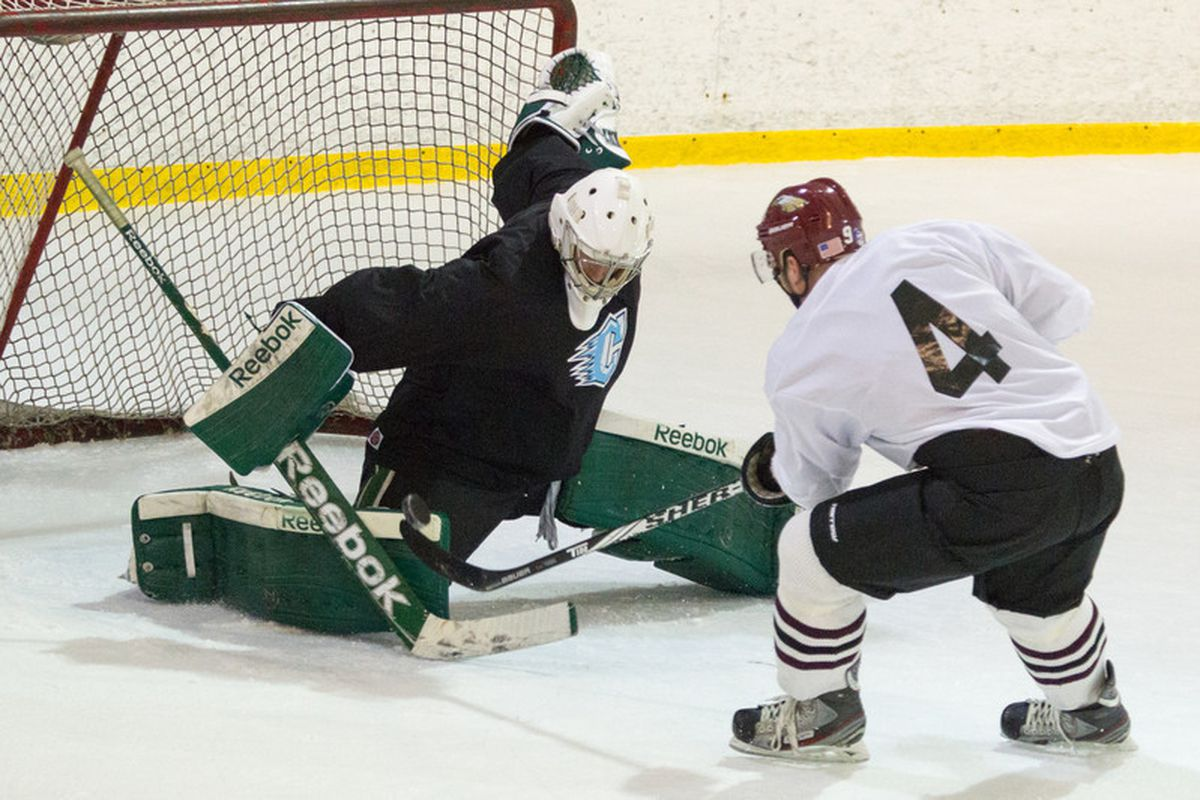 Tate Maris makes a save on a penalty shot.