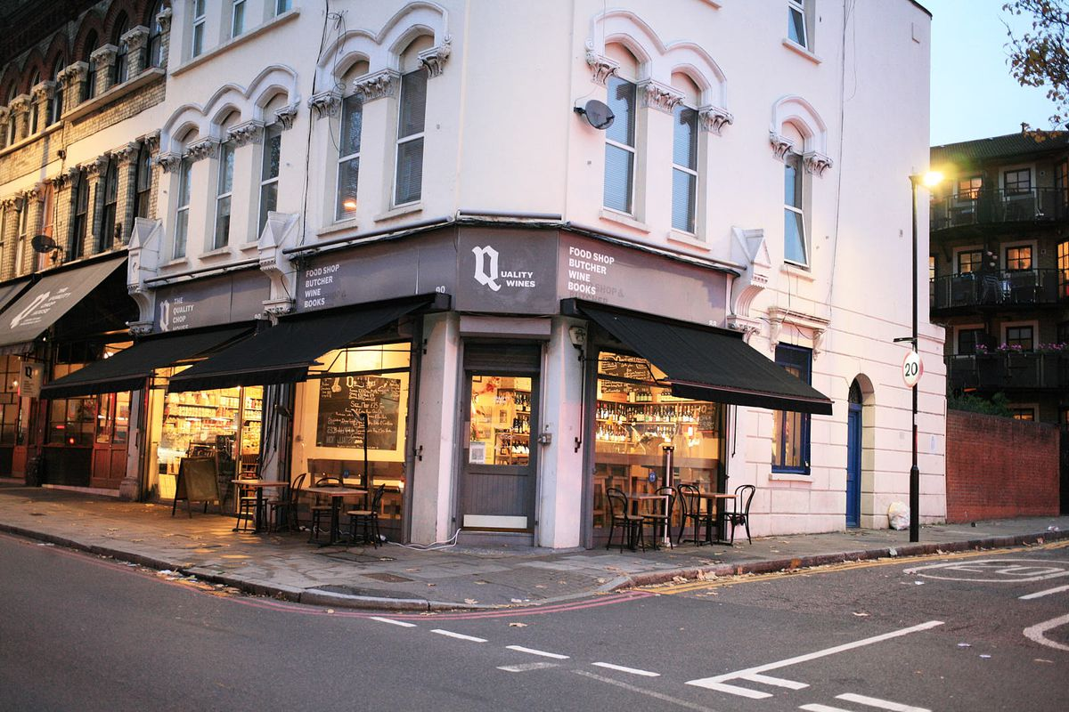 Quality Wines in Clerkenwell, at dusk —one of London's best restaurants and wine bars by chef Nick Bramham