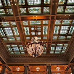 Stain glass in the roof of the main lobby at the Joseph Smith Memorial Building for a special section on Hotel Utah's centennial Wednesday, May 18, 2011, above Salt Lake City, Utah.