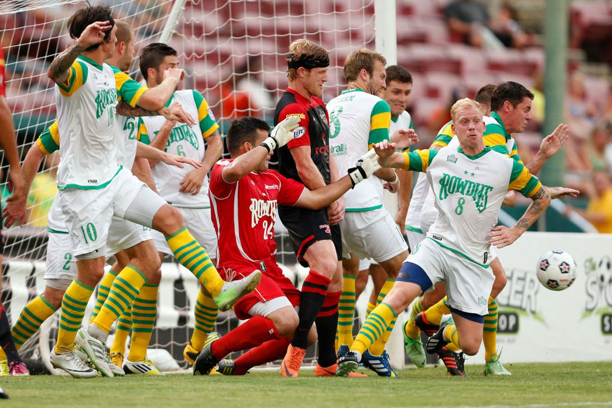 The NASL in a single photo: Pat Phelan surrounded by 10 Rowdies in a goal-mouth scrum.