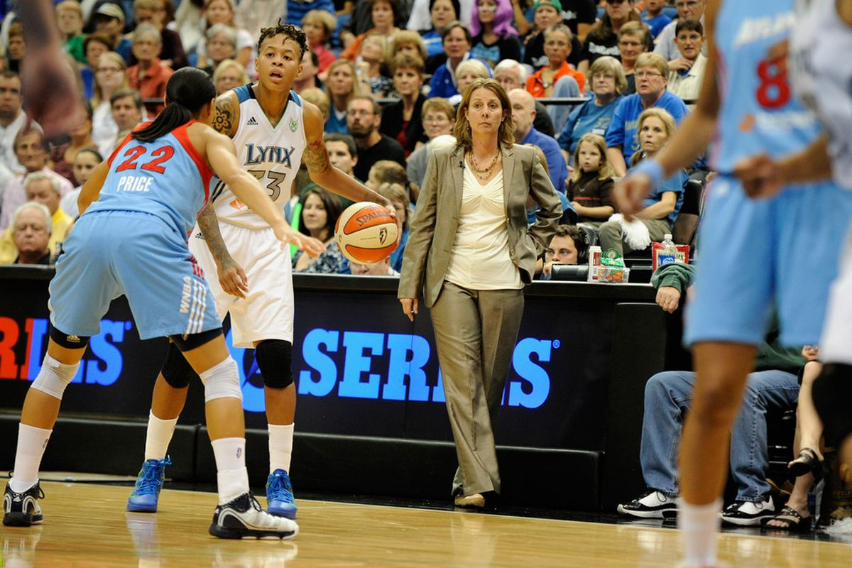 We all know that Minnesota Lynx guard Seimone Augustus can score, but it was her seven assists and one turnover in Game One of the 2011 WNBA Finals that might have defined a 88-74 win. <em>Photo by Hannah Foslien/Getty Images.</em>