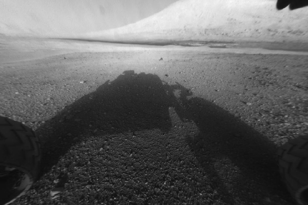 Curiosity Rover B&W Shadow