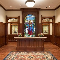 The main entrance to the Provo City Center Temple includes a reclaimed stained glass image of Jesus Christ that dates back to the early 1900s that came from a Presbyterian church in New York that was demolished.