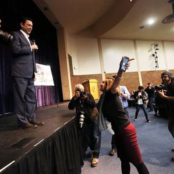 Jessica Mamey approaches the stage to ask Rep. Jason Chaffetz, R-Utah, a question during a town hall meeting in Cottonwood Heights on Thursday, Feb. 9, 2017.