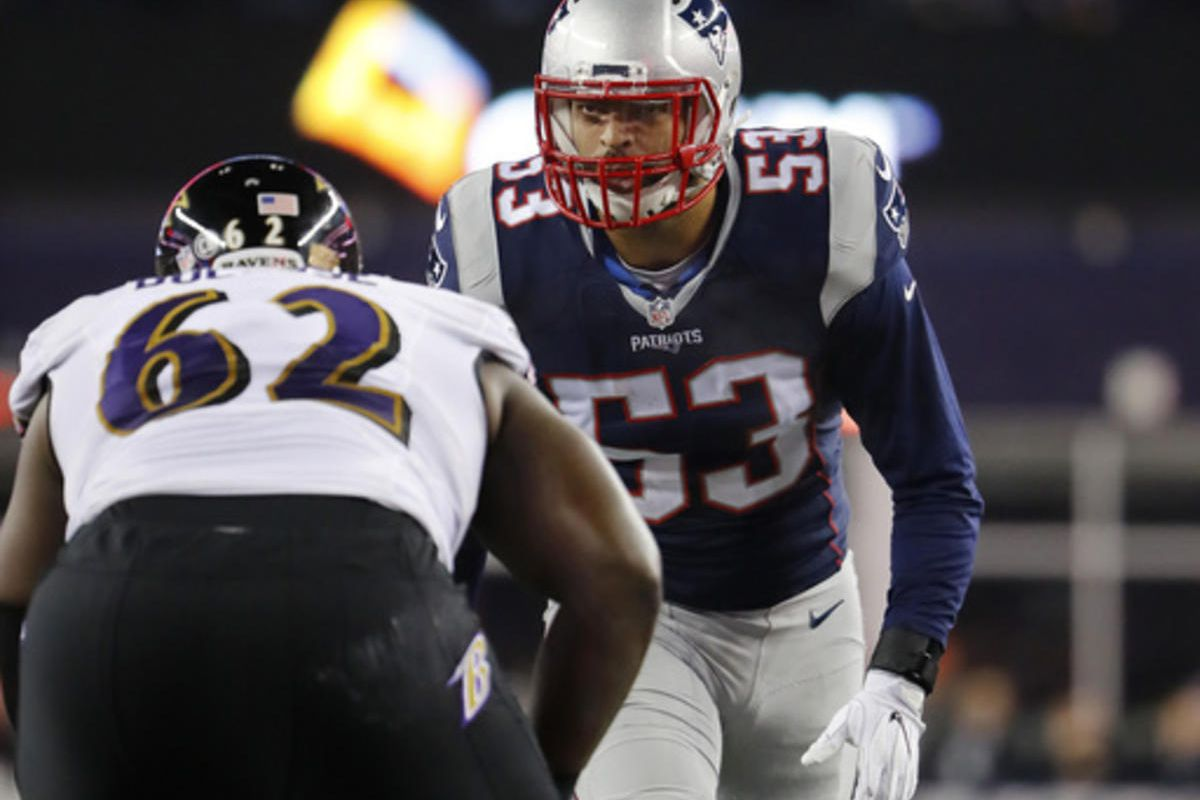 New England Patriots linebacker Kyle Van Noy during an NFL football game against the Baltimore Ravens at Gillette Stadium in Foxborough, Mass. Monday, Dec. 12, 2016.